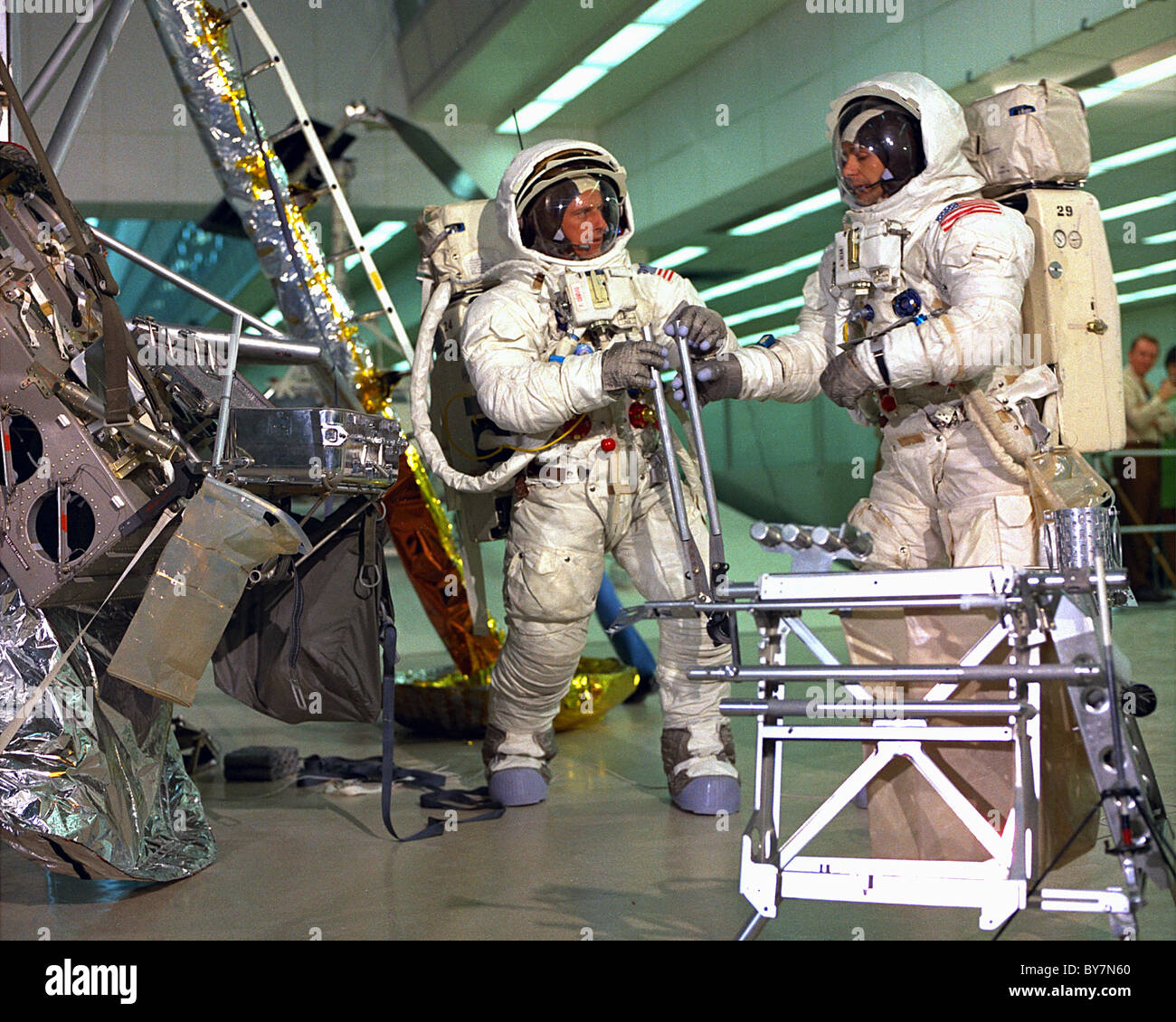 Apollo 12 training, training for extravehicular activity when on the moon - Stock Image