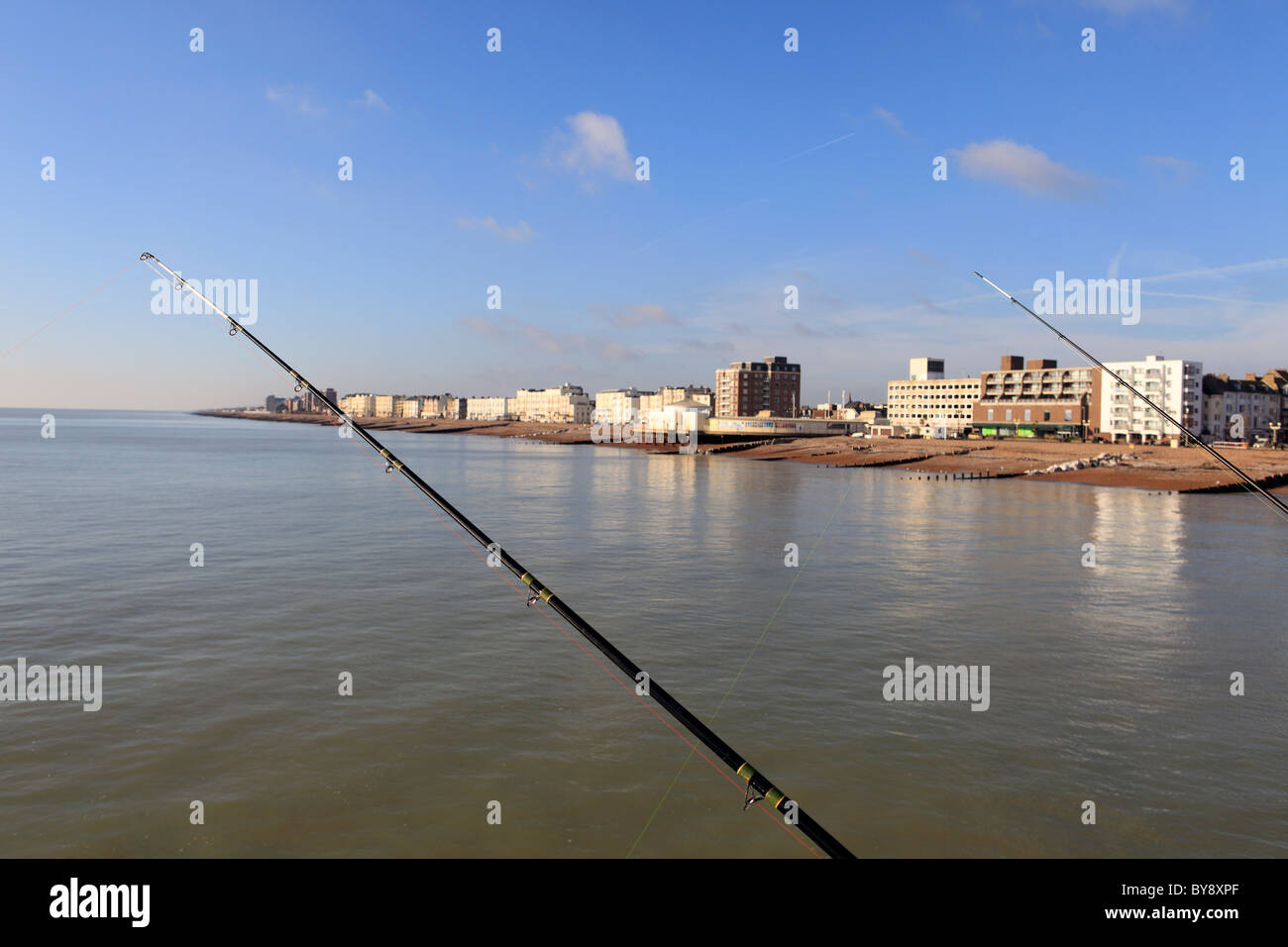 united kingdom west sussex worthing angling on the pier - Stock Image