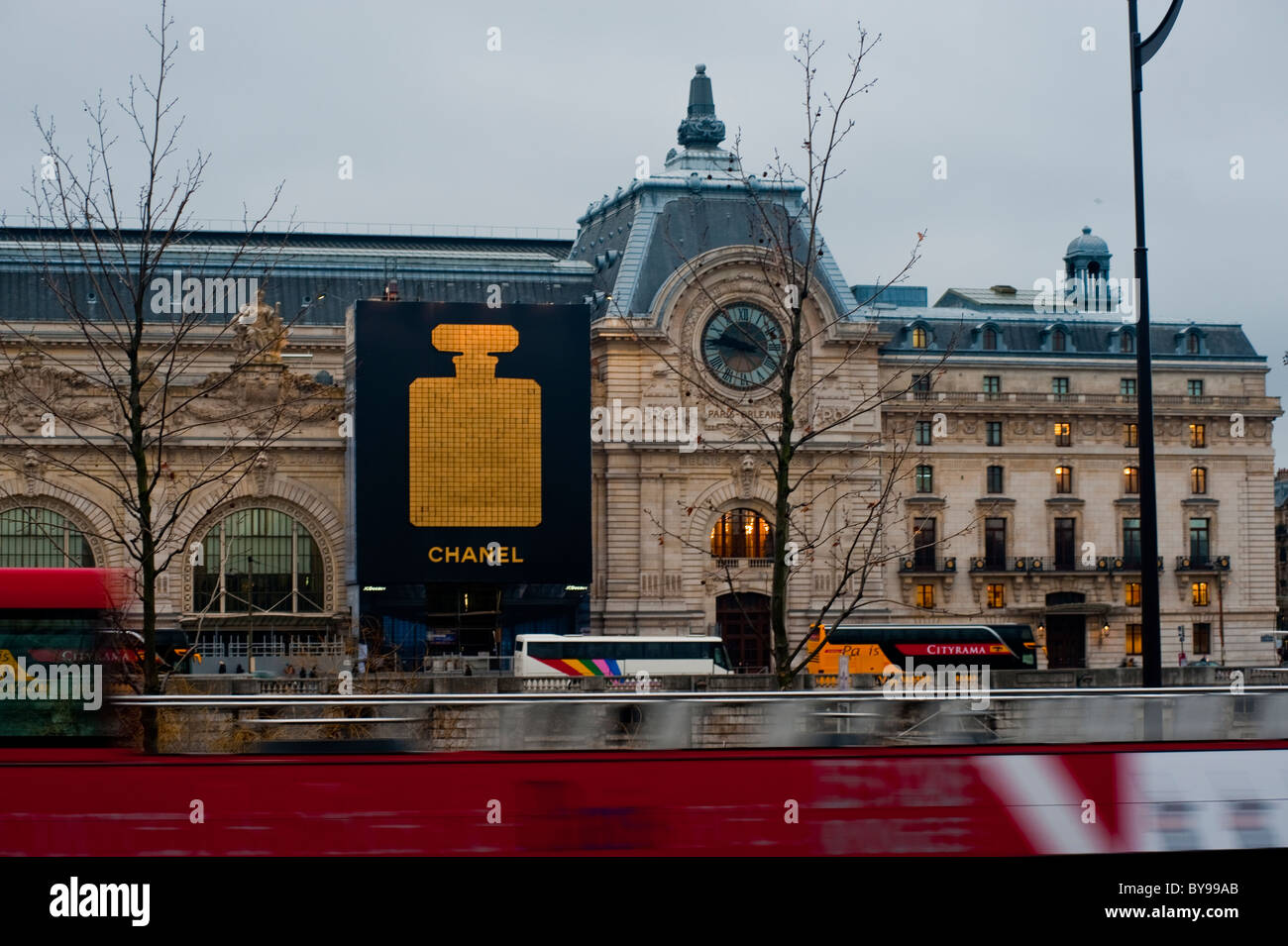 Paris, France, French Advertising on Orsay Museum Facade, Chanel Perfumes - Stock Image