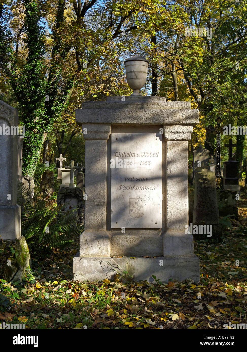 Grave of Wilhelm von Kobell, 1766-1853, painter, Southern Cemetery Munich, Upper Bavaria, Bavaria, Germany, Europe - Stock Image