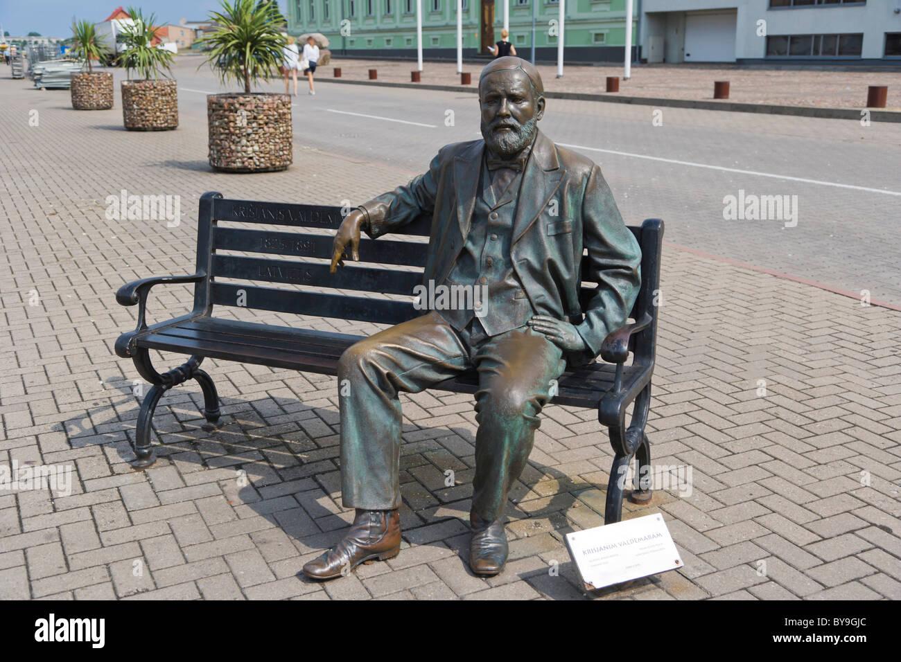 Monument to the Founder of the Latvian Seafaring, Krisjanis Valdemars, sculpture, Spikeru piekraste, Ostas Street - Stock Image