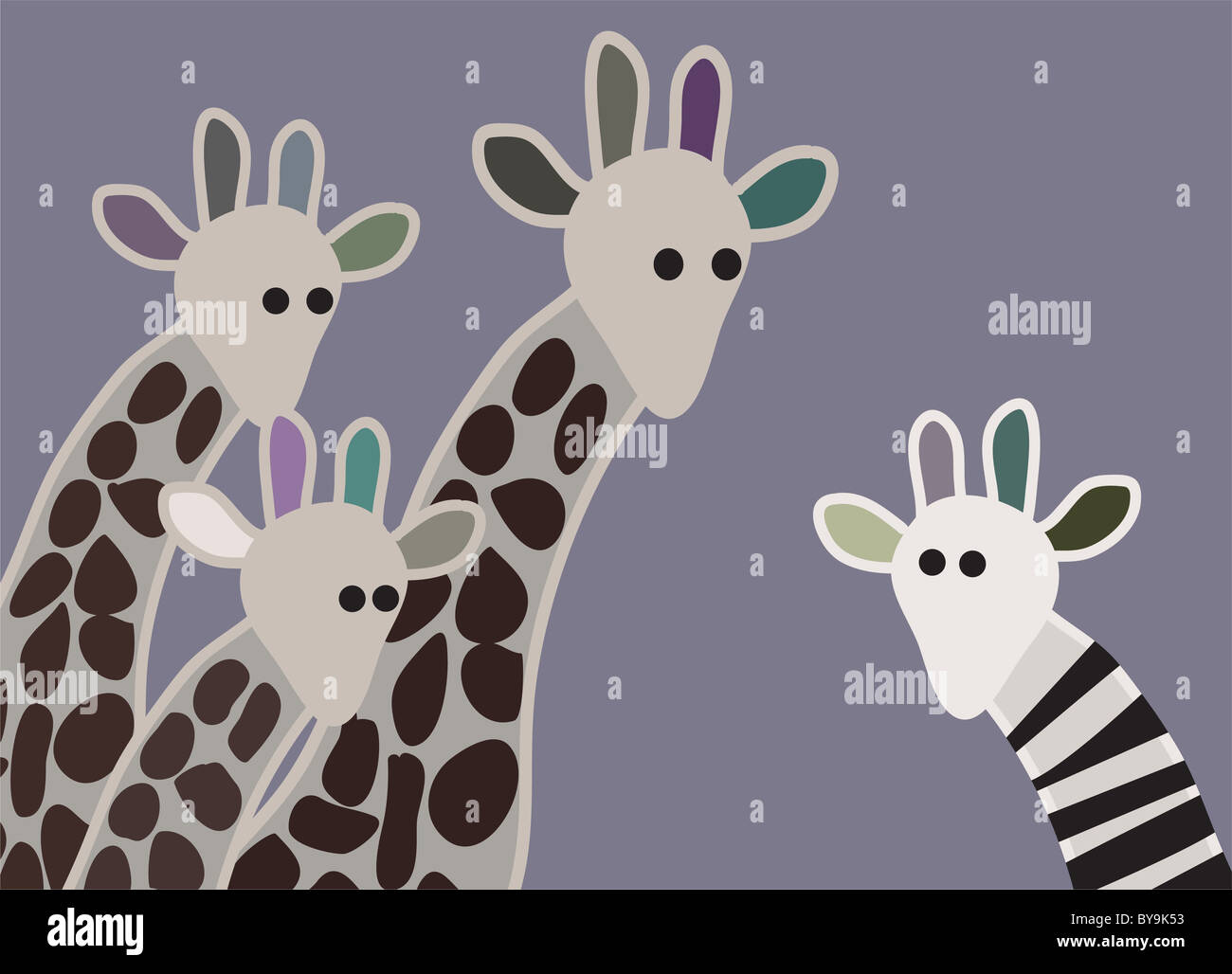 Giraffe family looking surprised, with giraffe in different marking Stock Photo