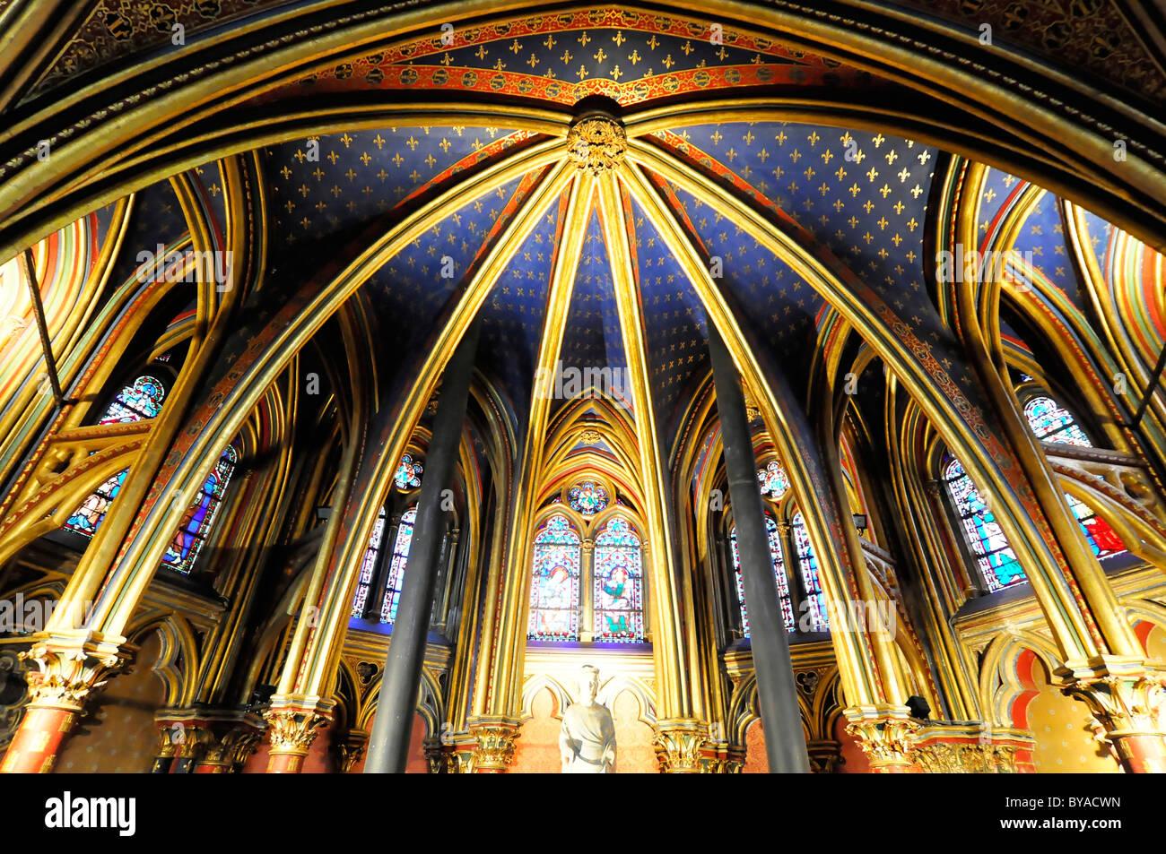 La Sainte Chapelle High Gothic Chapel Interior Section Lower Paris France Europe