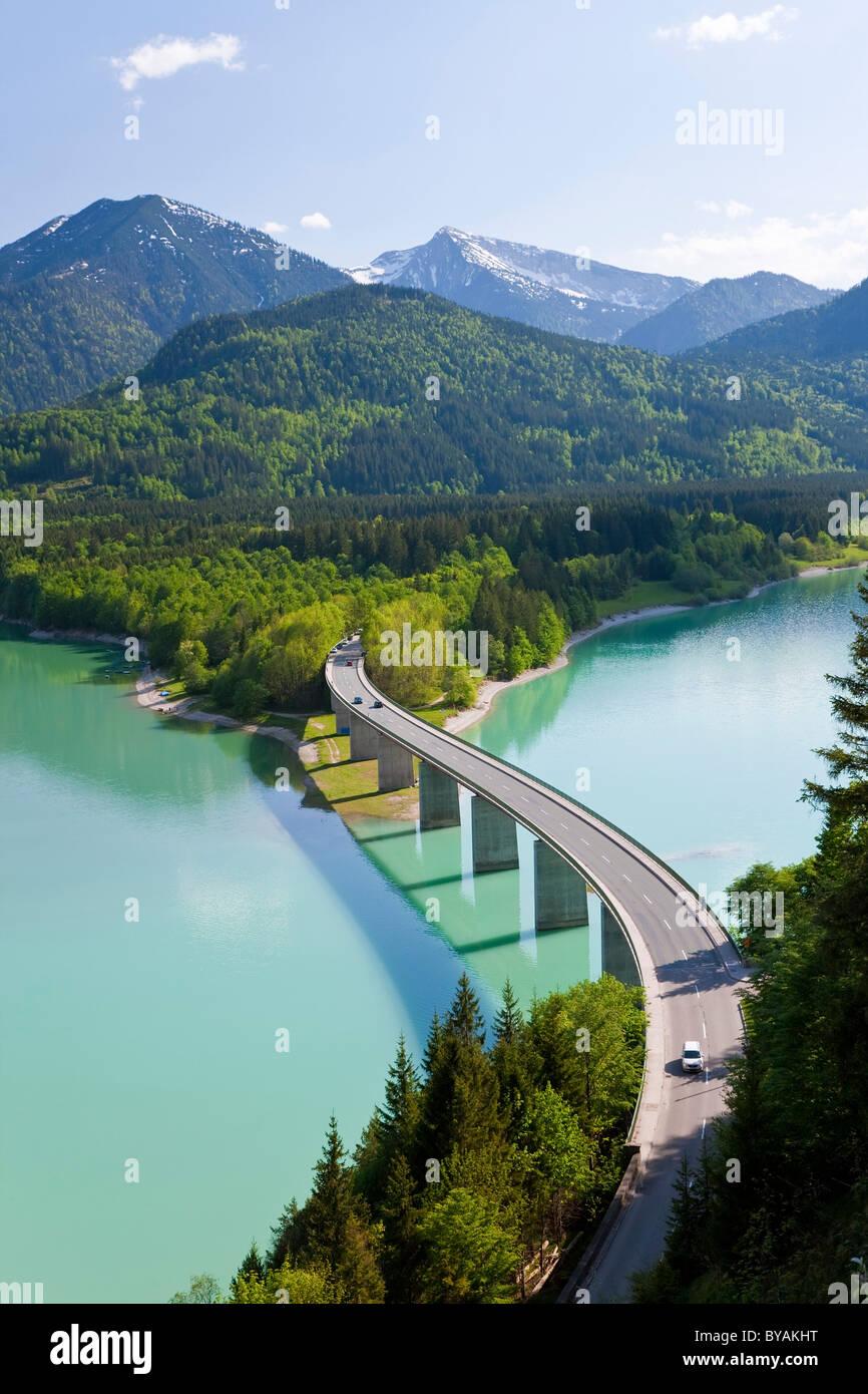 Sylvenstein Lake and Bridge Bavarian Alps Bavaria Germany - Stock Image