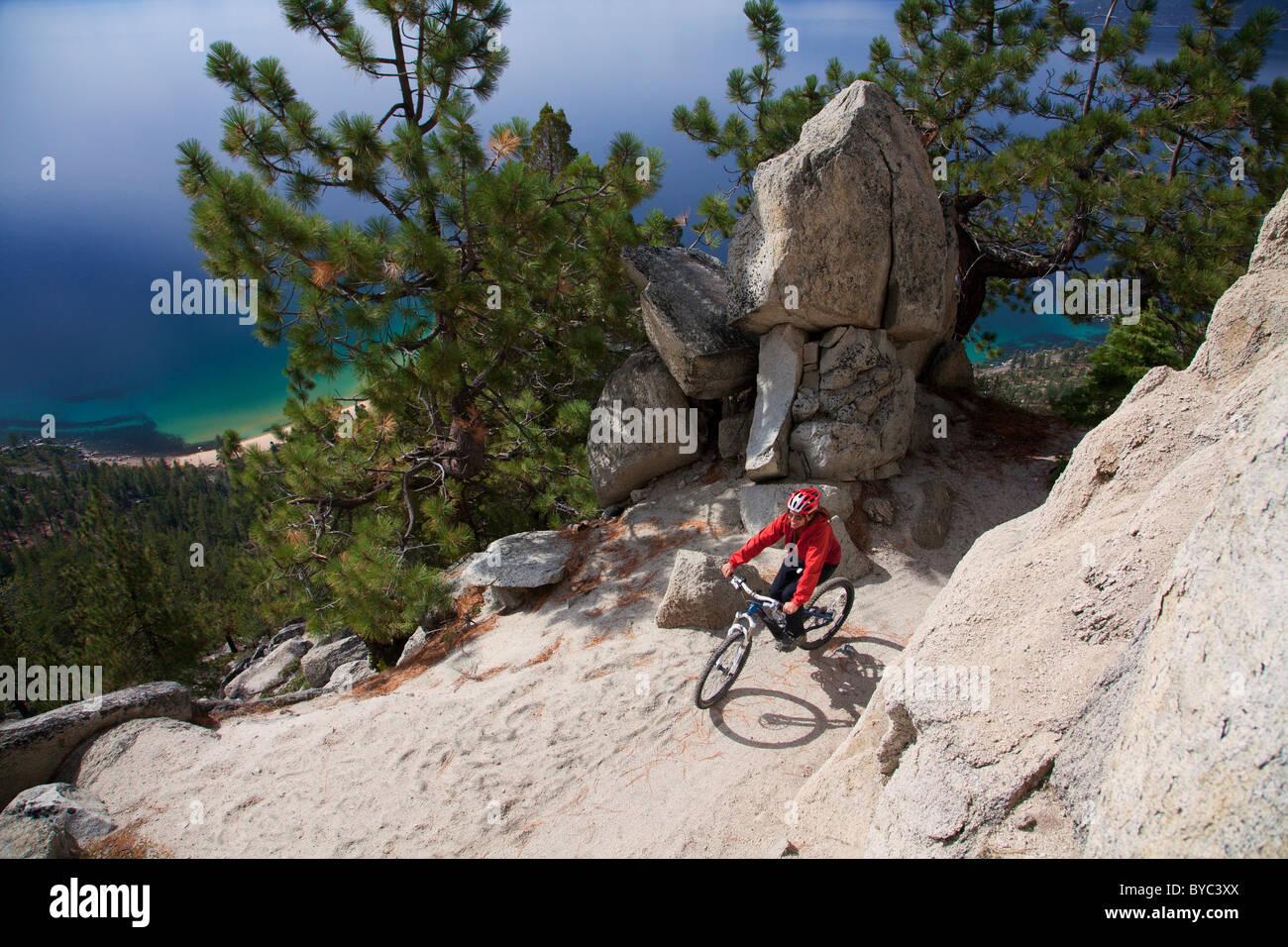 Mountain Biking The Flume Trail Lake Tahoe Nv Stock Photo
