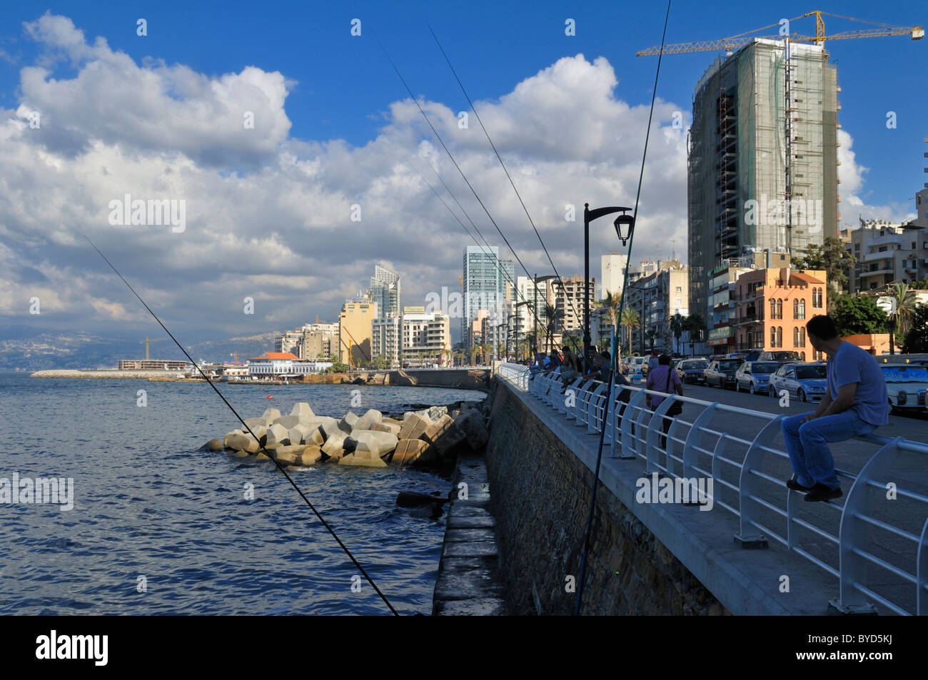 Corniche of Beirut, Beyrouth, Lebanon, Middle East, West Asia - Stock Image