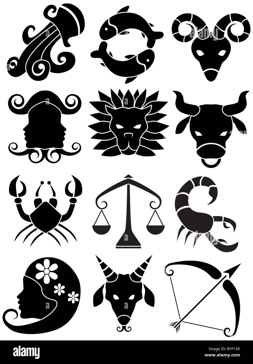 An image of the 12 zodiac symbols. Stock Photo