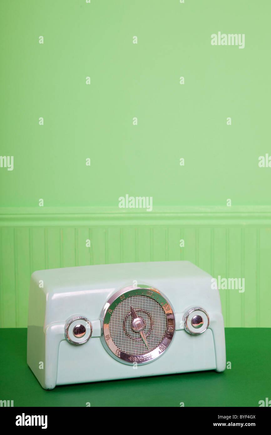 vintage green radio - Stock Image
