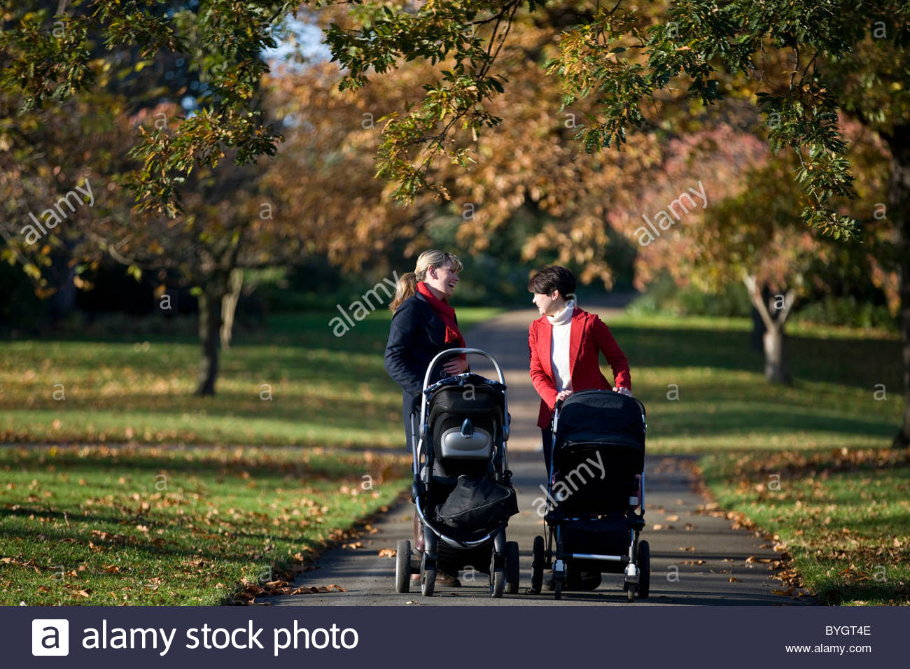 Two mothers pushing their strollers in the park, laughing Stock Photo