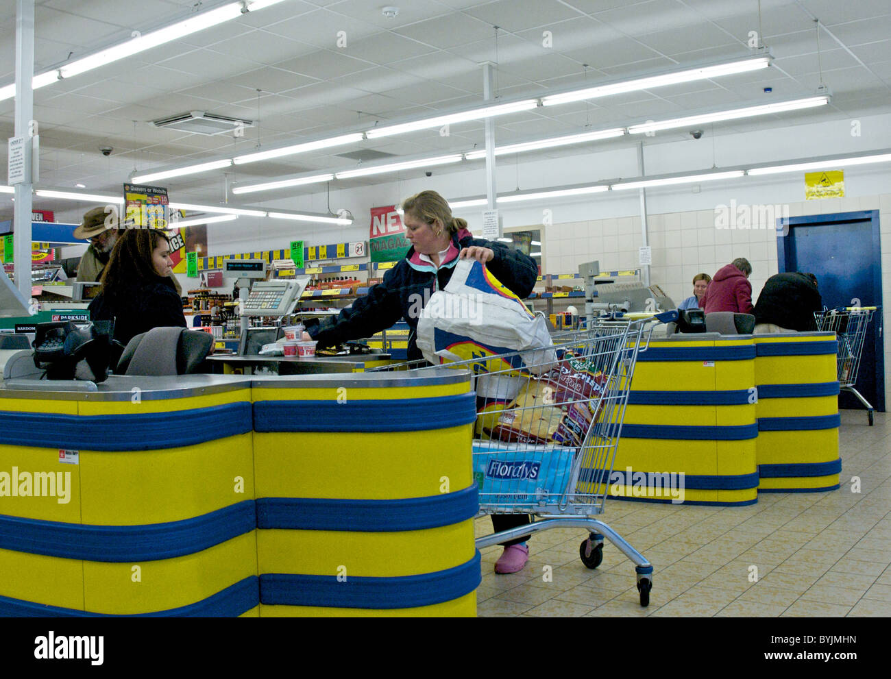 Interior Of Large Store Showing The Wide Range Of Merchandise Available.  This Is The Checkout Or Tills Area In A Lidls Store