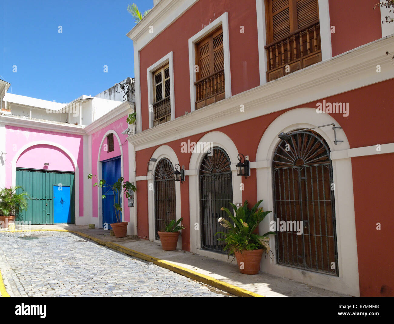 Old San Juan Street with Colonial Architecture, Puerto Rico - Stock Image