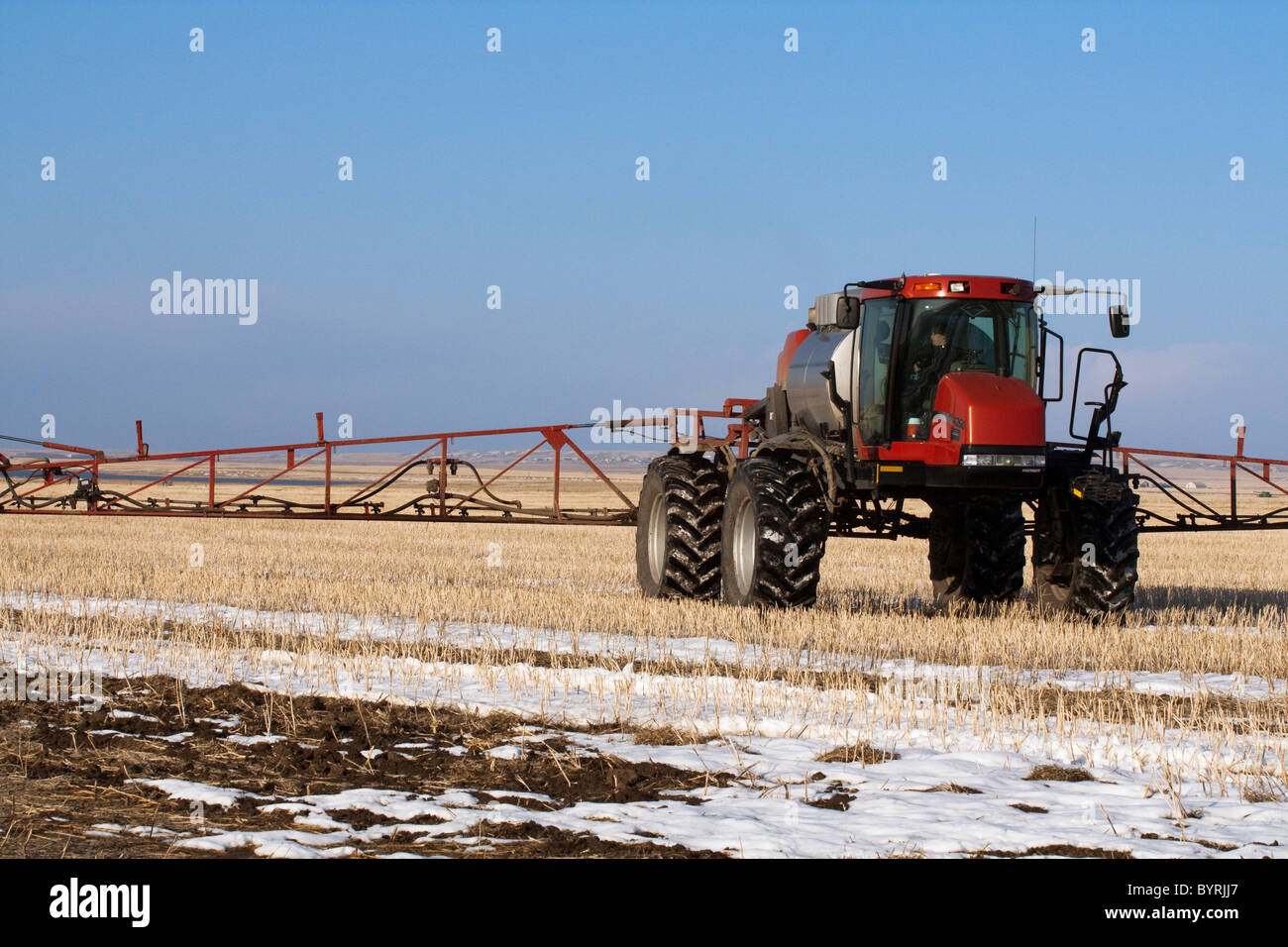 Agriculture - A Case IH Patriot sprayer applies fertilizer to a snow covered field of grain stubble in Spring / - Stock Image