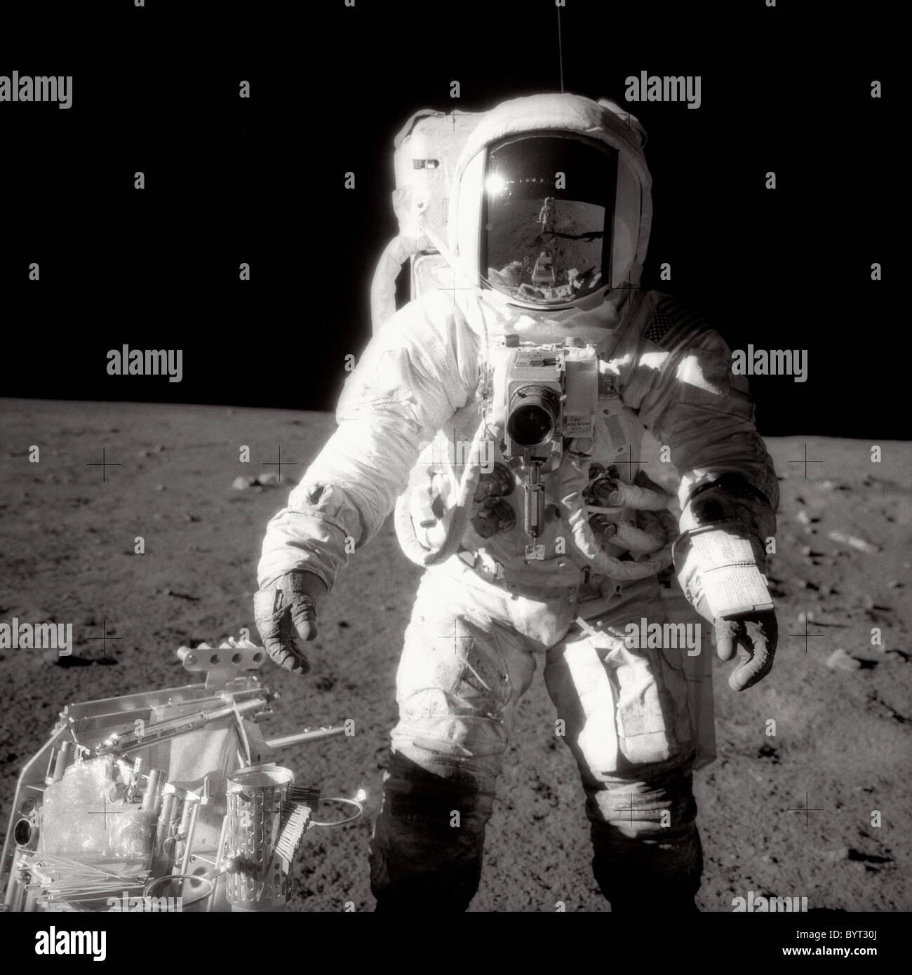 Apollo 12 Astronaut Alan L. Bean on the moon. - Stock Image