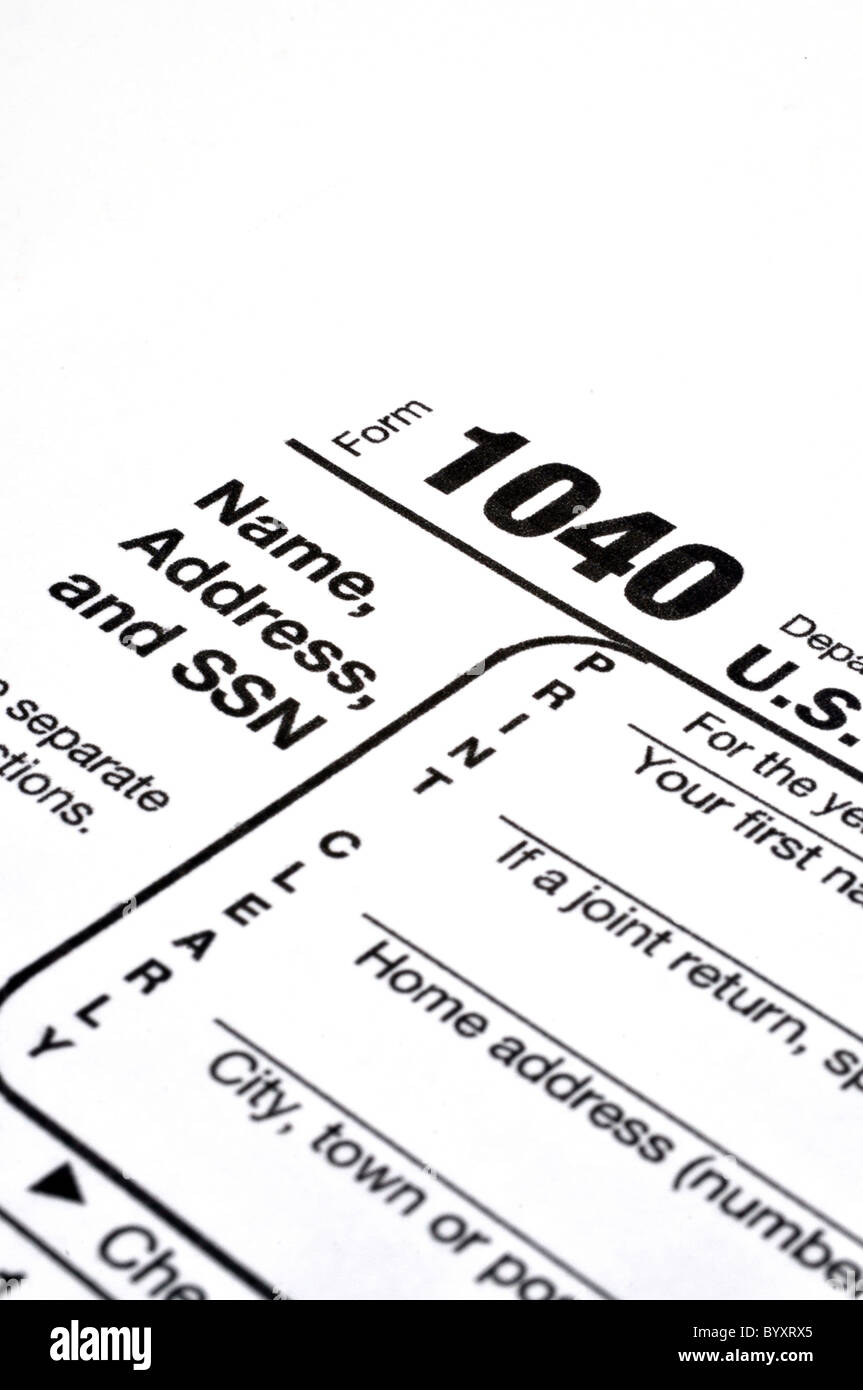 IRS Tax Form 1040 closeup isolated on white background Stock Photo ...