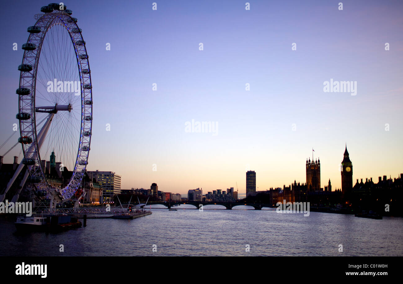 London eye, big ben and the houses of parliament at twilight - Stock Image