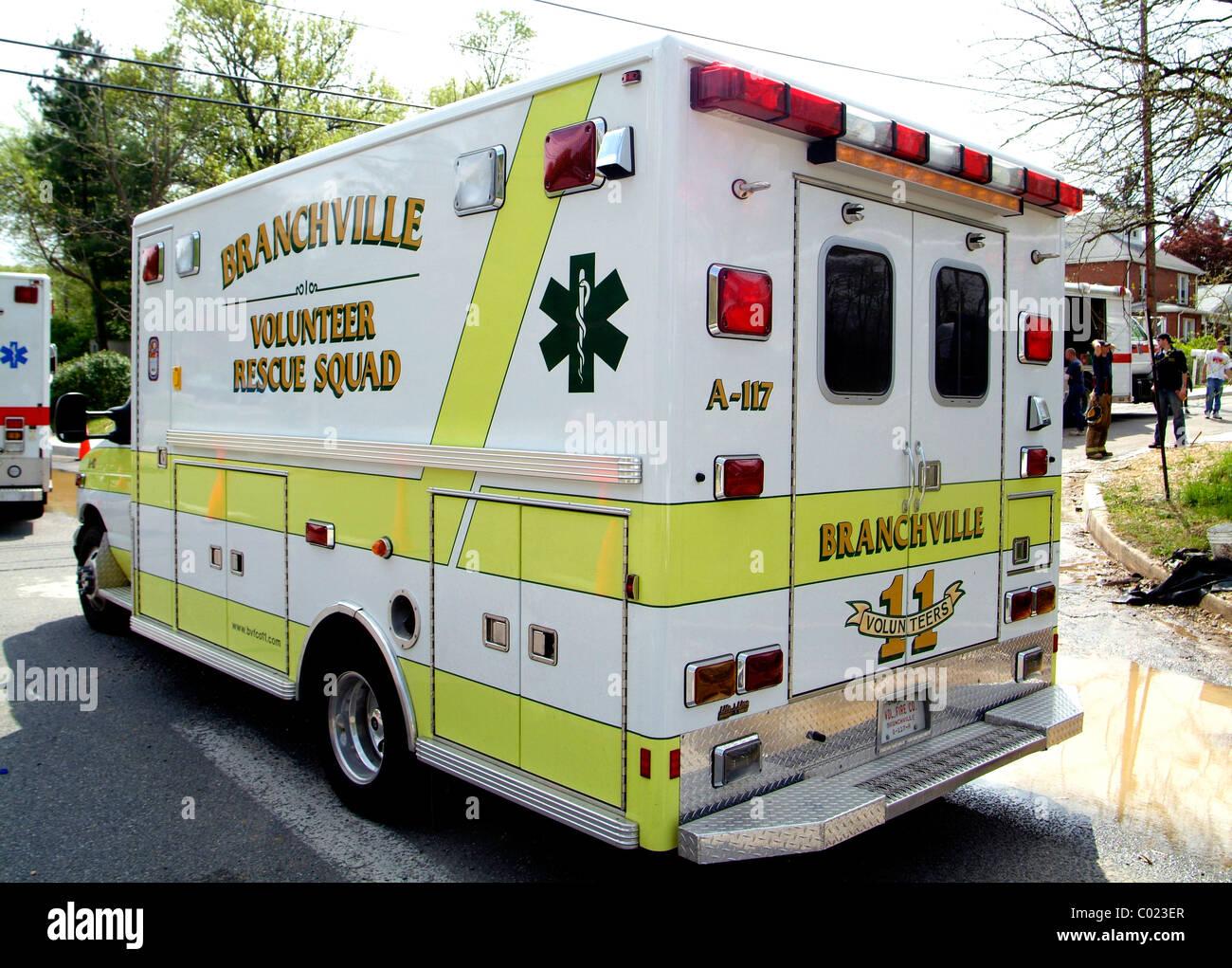 Branchville Vol Fire Dept ambulance - Stock Image
