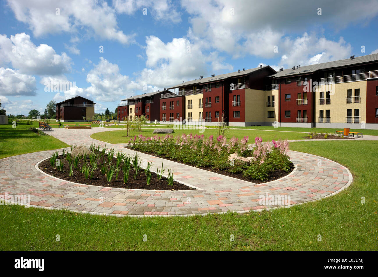 New development, new construction project with funding from the European Union, Balvi, Latvia, Baltic States, Europe - Stock Image
