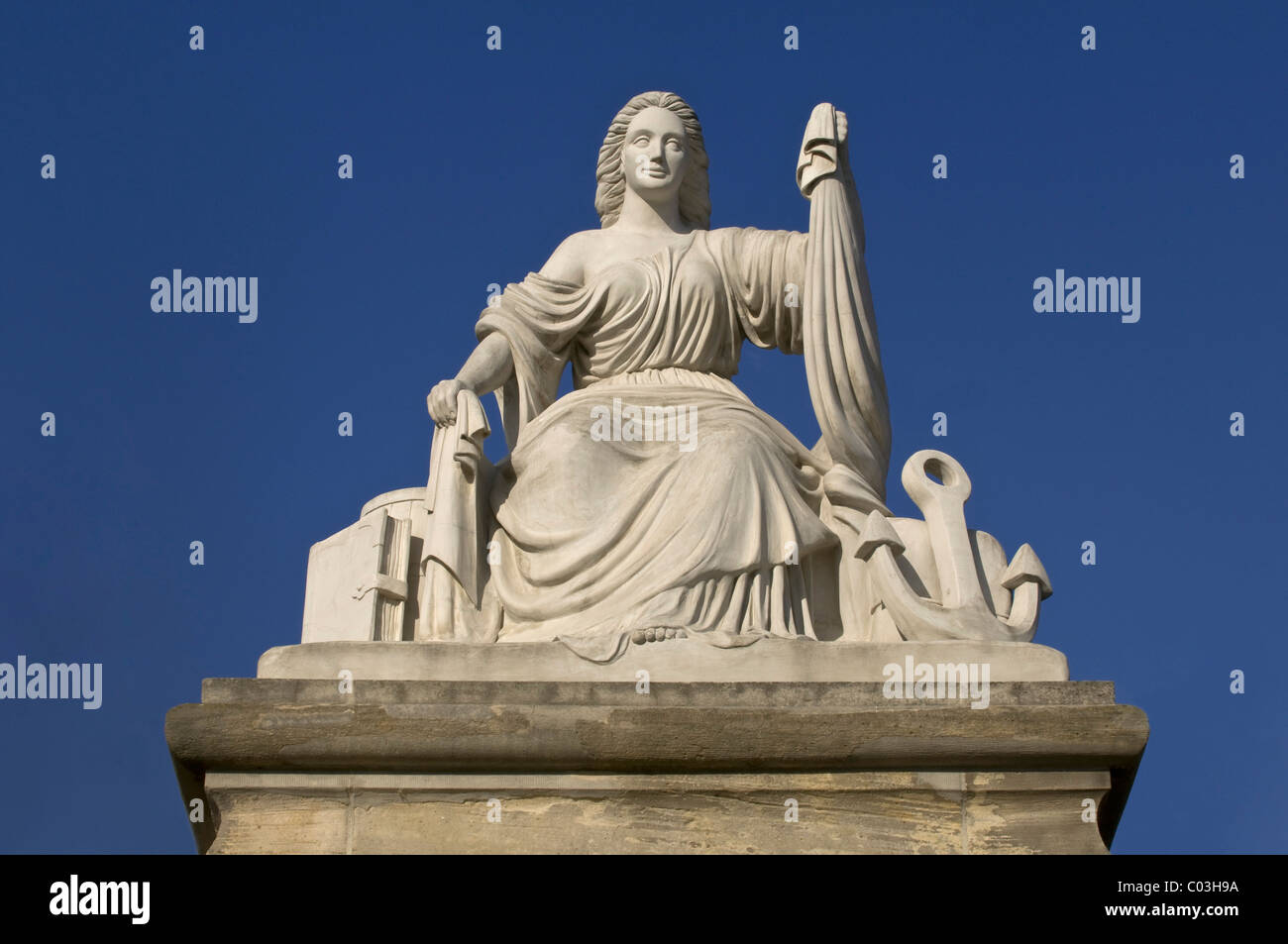 Statue for shipping and trade, Castle Gate Mainz, Rhineland-Palatinate, Germany, Europe - Stock Image
