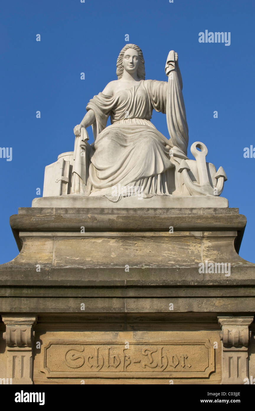 'Seefahrt und Handel' statue, 'seafaring and trade', on a sandstone pillar, Mainz castle gate, lettering - Stock Image