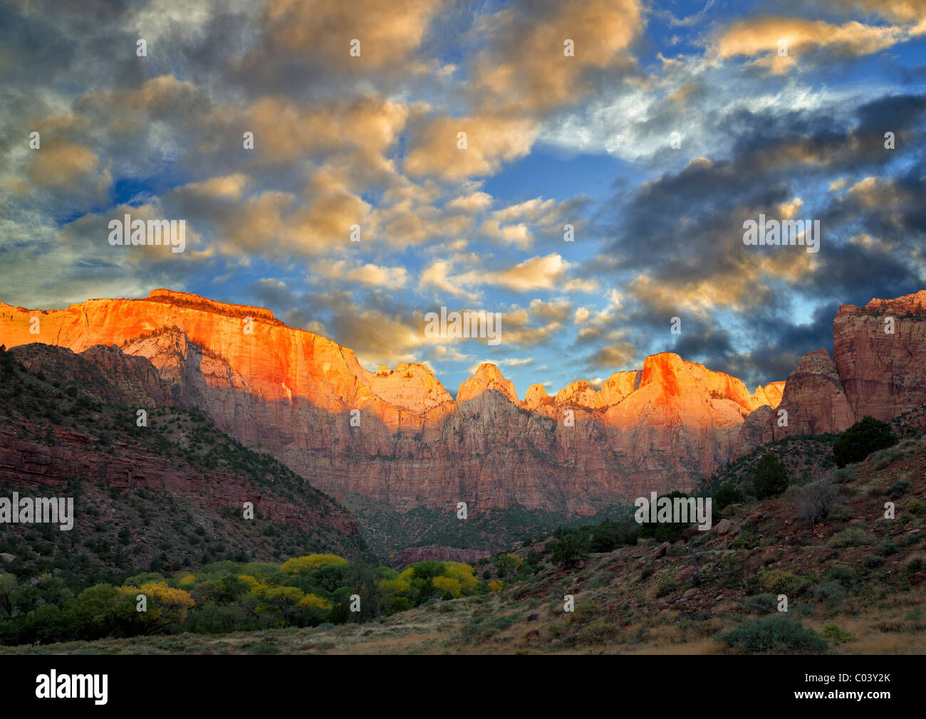 Temple and Towers of the Virgin. Zion National Park, Utah. A sky has been added. - Stock Image