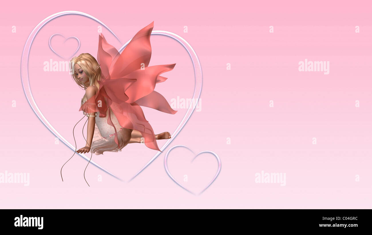 Valentine Fairy Card with Copyspace - 2 - Stock Image