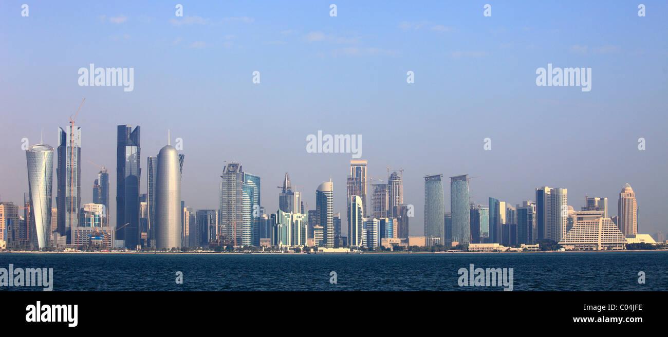 Qatar, Doha, skyline, skyscrapers, general view, - Stock Image