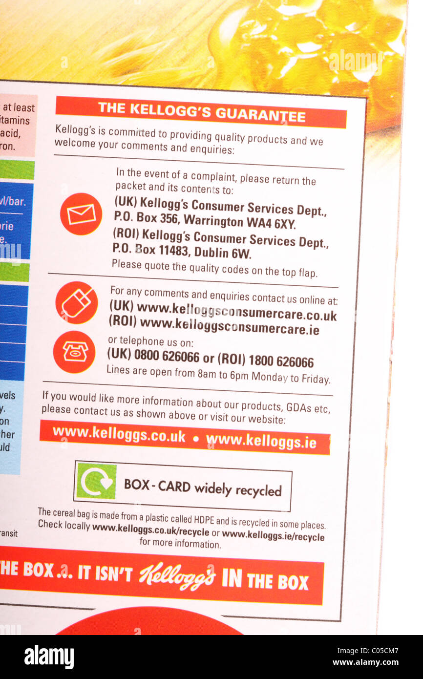 Customer services and consumer care line product information and corporate helpline information on a cereal packet - Stock Image