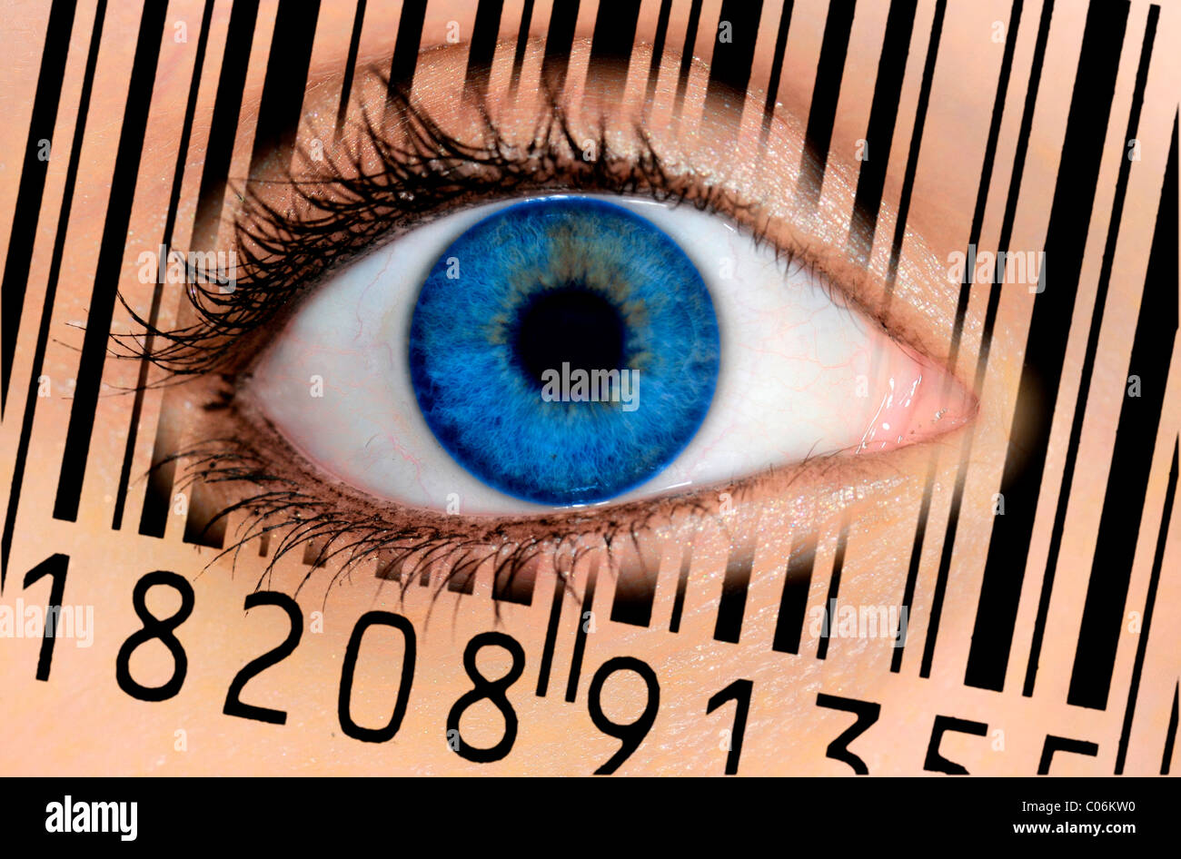 Detail of an eye with a blue iris and an EAN barcode, European Article Number, symbolic image for the see-through - Stock Image