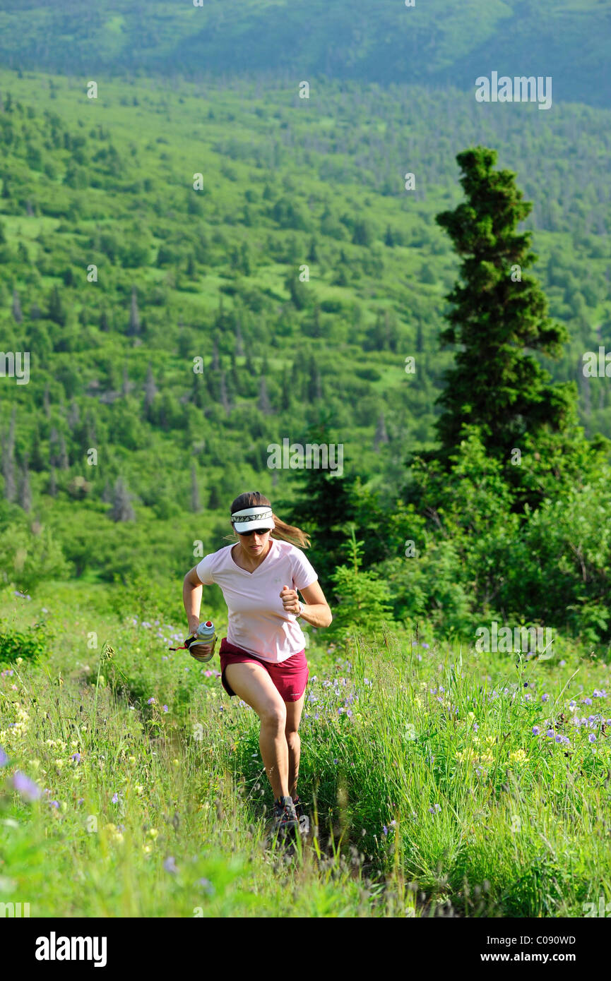 Female jogger runs the Near Point Trail in Chugach State Park near Anchorage, Southcentral Alaska, Summer - Stock Image