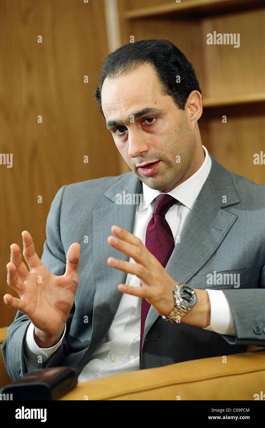 Gamal Mubarak, son of Egypt's President Hosni Mubarak, in an interview in 2003 in Cairo. - Stock Image
