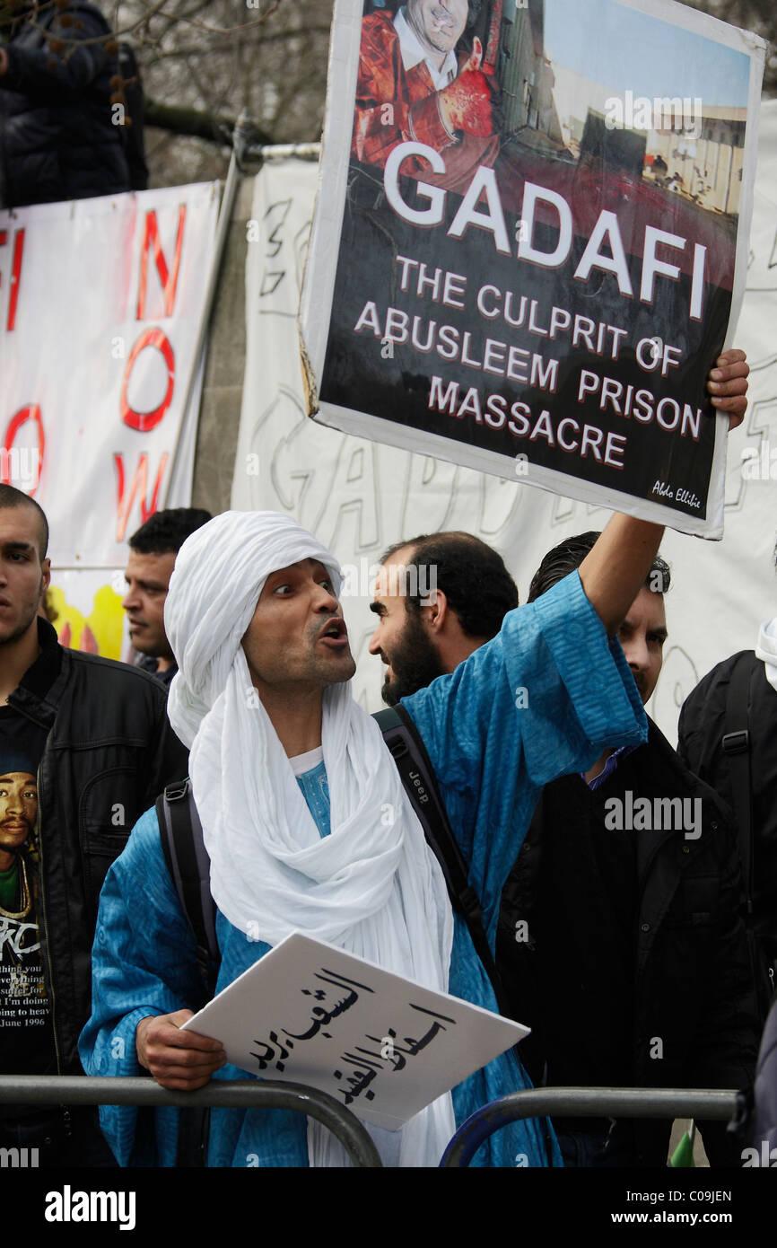 Gadafi protester at Libyan  Embassy London - Stock Image