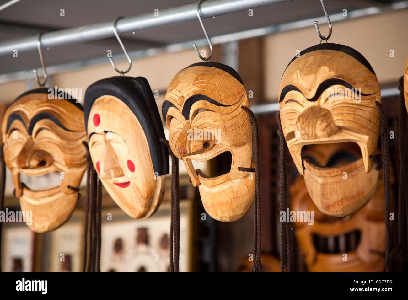 wooden masks in Andong, South Korea - Stock Image