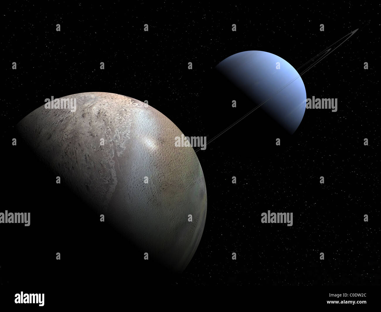 Illustration of the gas giant planet Neptune and its largest moon Triton. - Stock Image