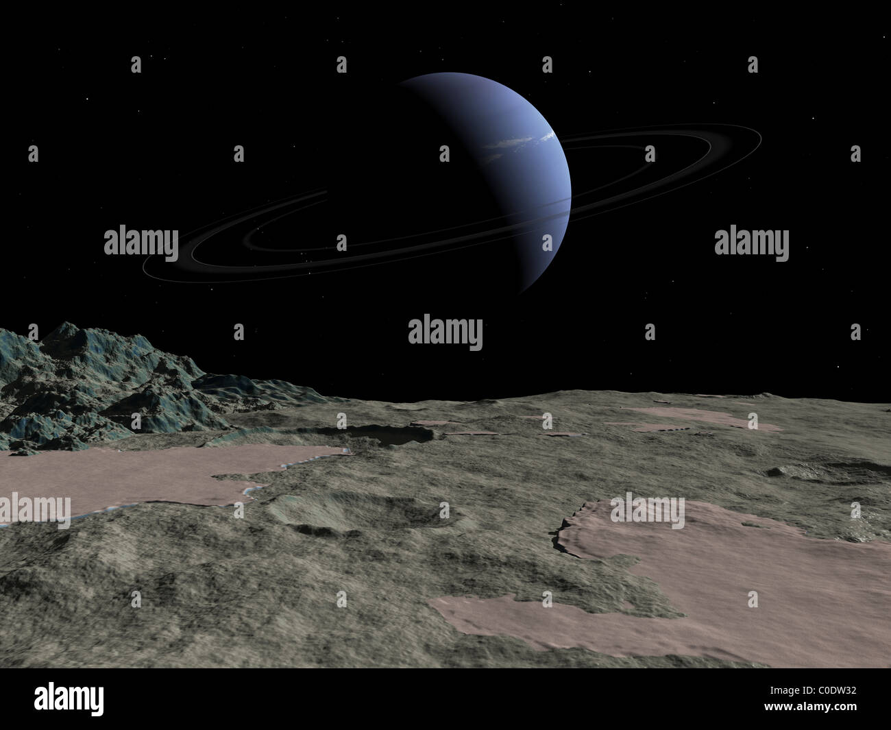 Illustration of the gas giant Neptune as seen from the surface of its moon Triton. - Stock Image