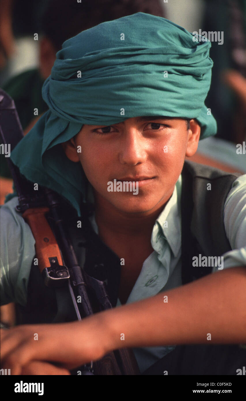 tripoli, libya -- a member of the people's revolutionary green guards during a ceremony honoring Libyan leader - Stock Image