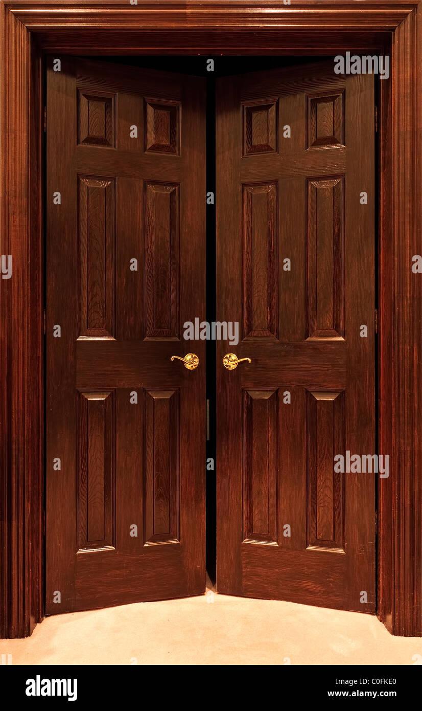 Wood Office Door With Brass Door Handle - Stock Image