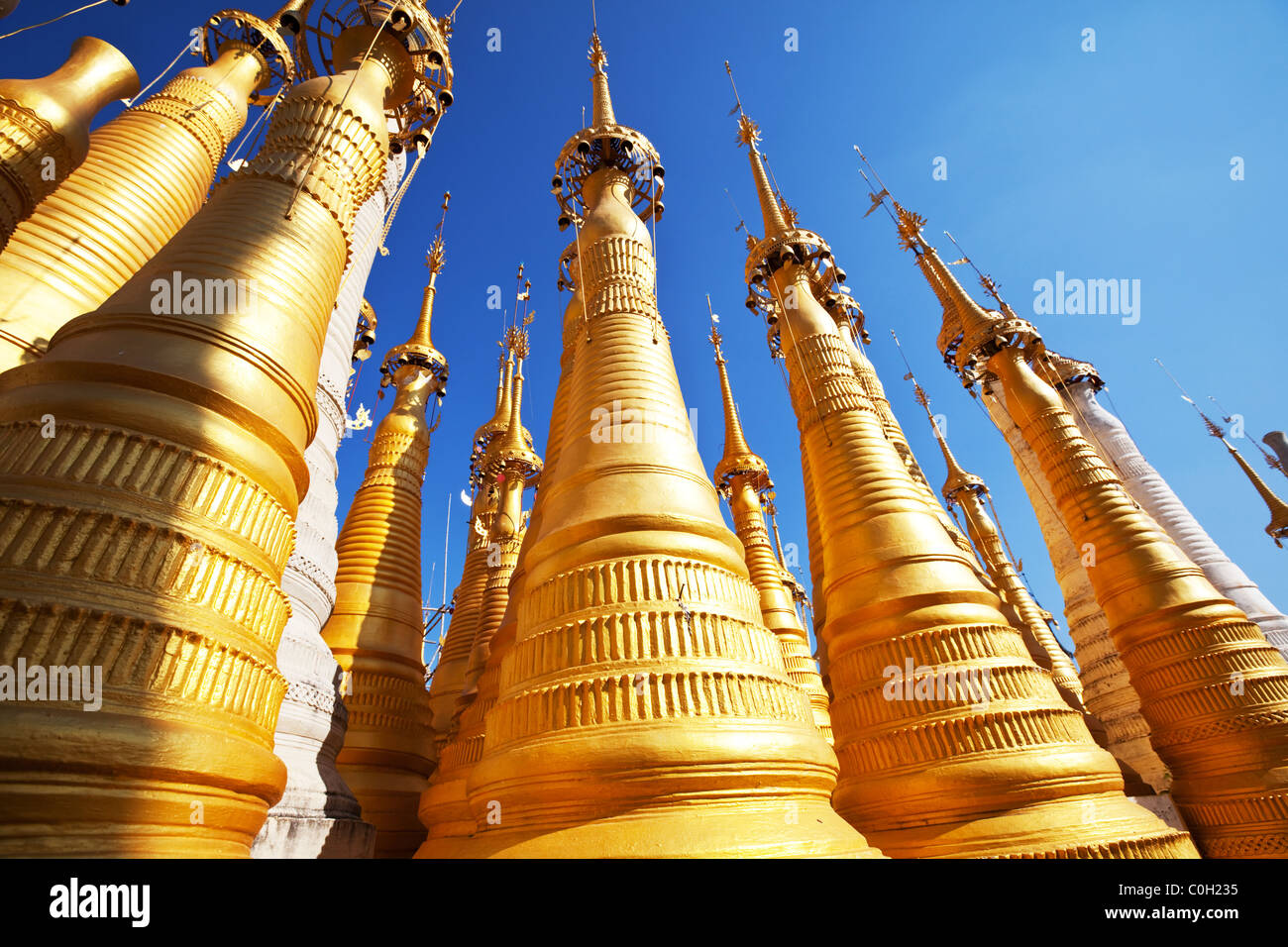 Golden stupas, Shwe Inn Thein Paya, Inthein, Inle Lake, Myanmar - Stock Image