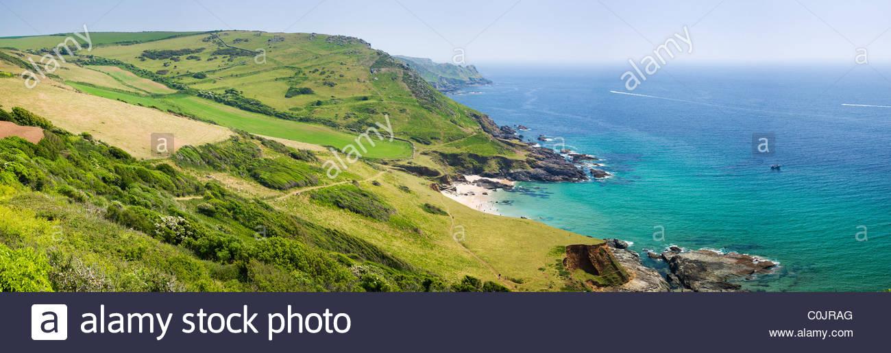 Seacombe Sands from Gara Rock, near Salcombe, South Hams, Devon, England. - Stock Image