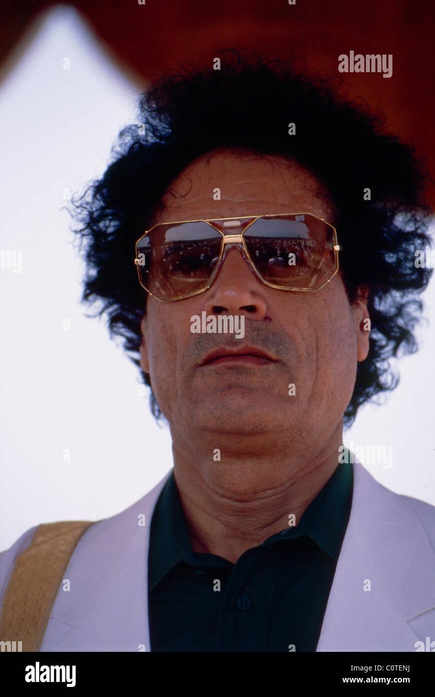 Libyan President Muammar Gaddhafi during celebrations in Tripoli marking his 20th anniversary in power. - Stock Image
