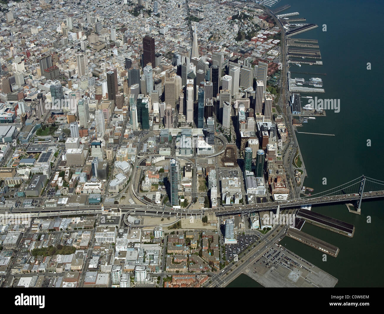 aerial view above central business financial district downtown San Francisco California - Stock Image