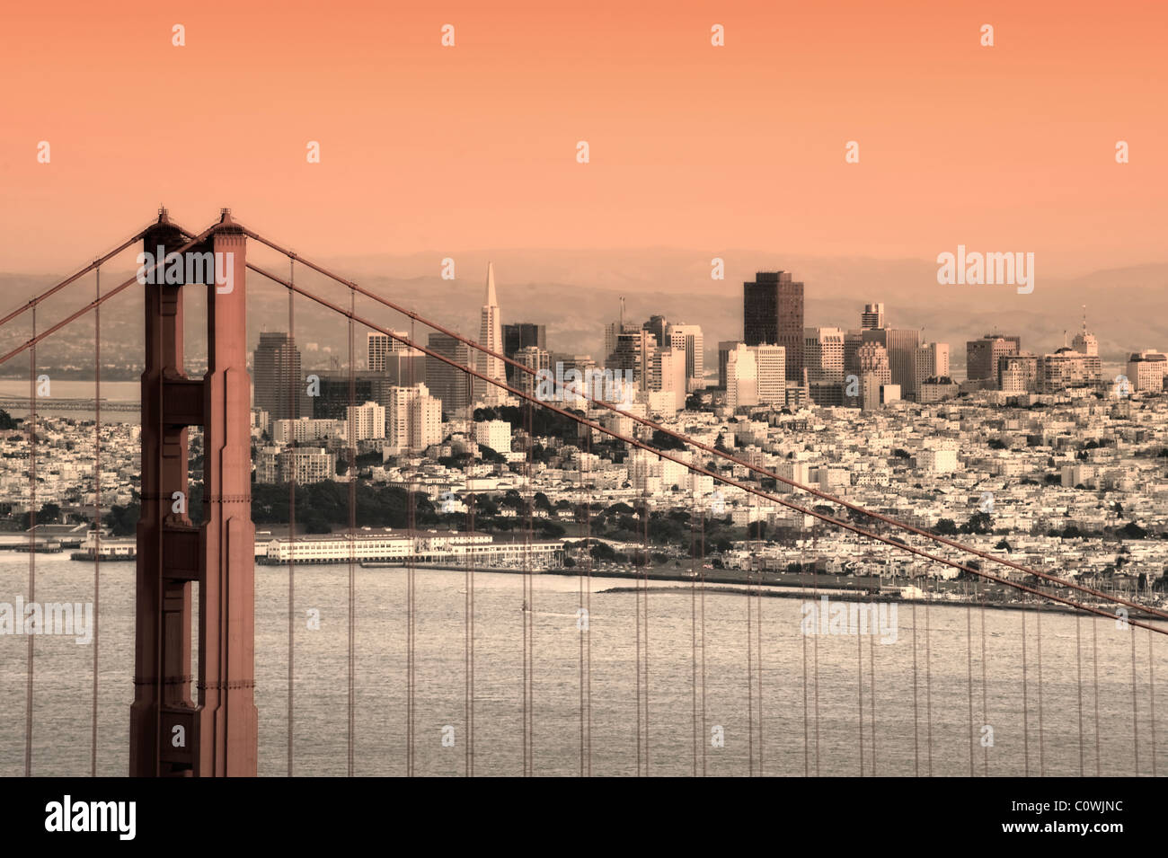Usa, California, San Francisco, City Skyline and Golden Gate Bridge - Stock Image