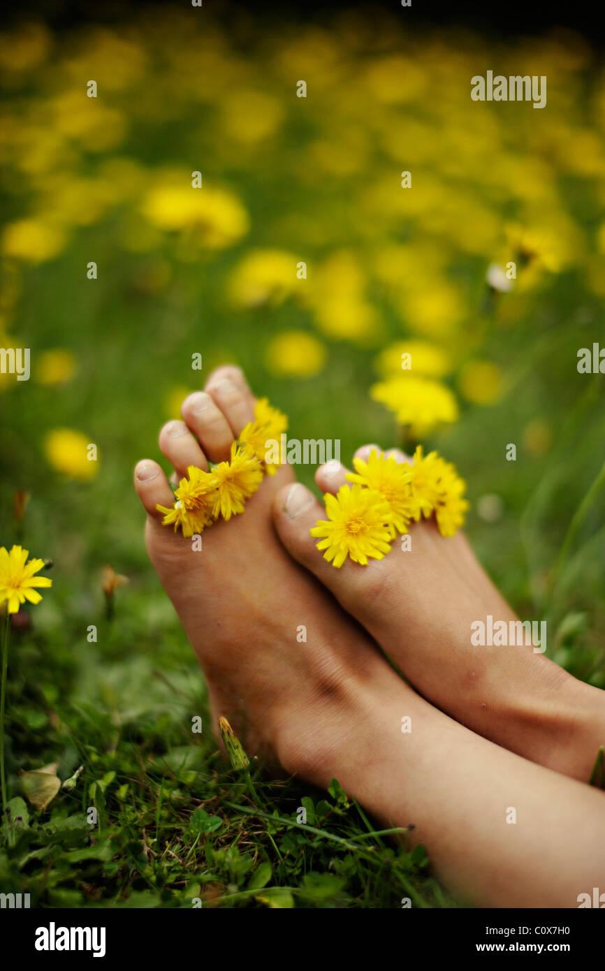 Girl puts yellow flowers between her toes. - Stock Image