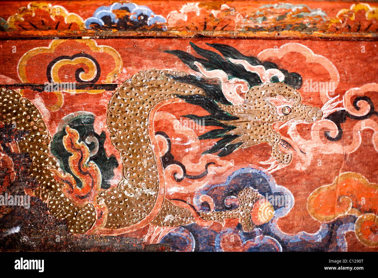 Bhutanese temple art depicting the Thunder Dragon, representative of the Kingdom of Bhutan - Stock Image