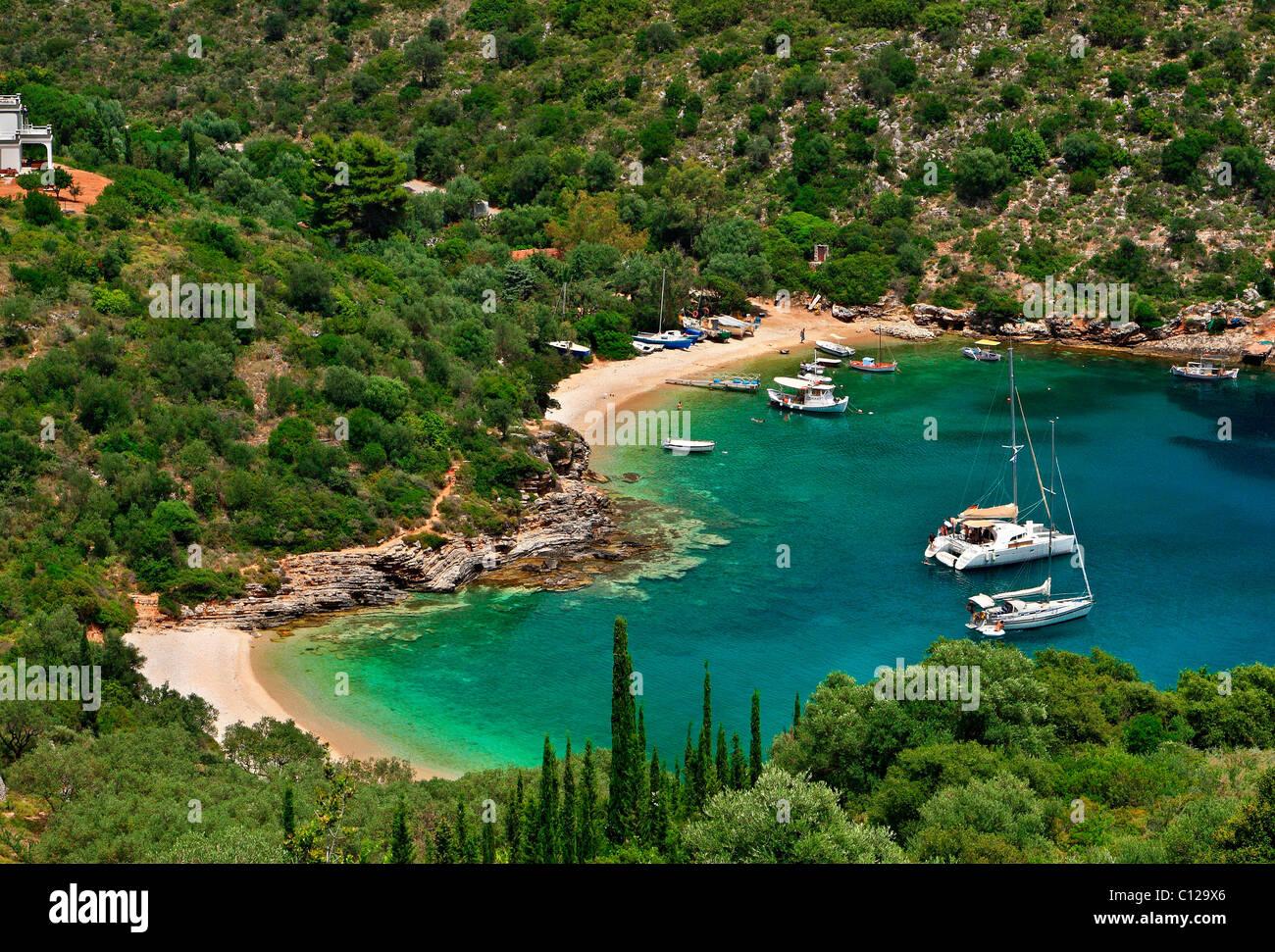 A double, heart-shaped beach called Sarakiniko, 3 km from Vathy town, capital of Ithaca island, Ionian Sea, Greece - Stock Image