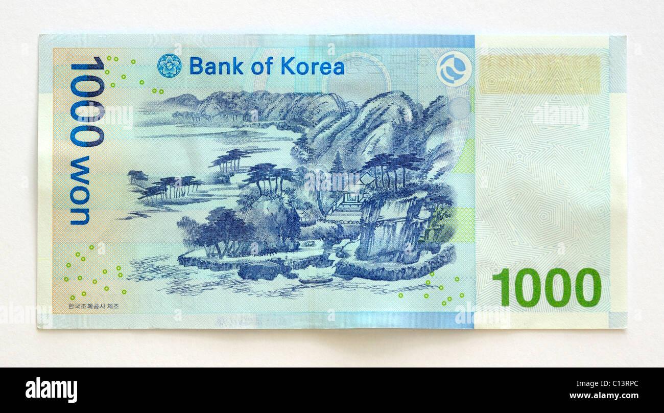 South Korea One Thousand 1000 Won Bank Note. - Stock Image