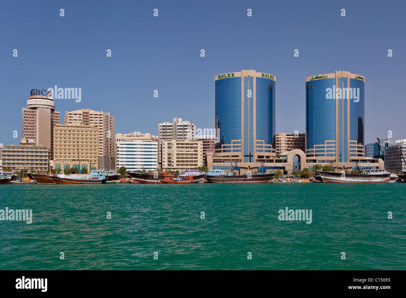 The Dubai Creek skyline office towers in Dubai, UAE, Persian Gulf. - Stock Image