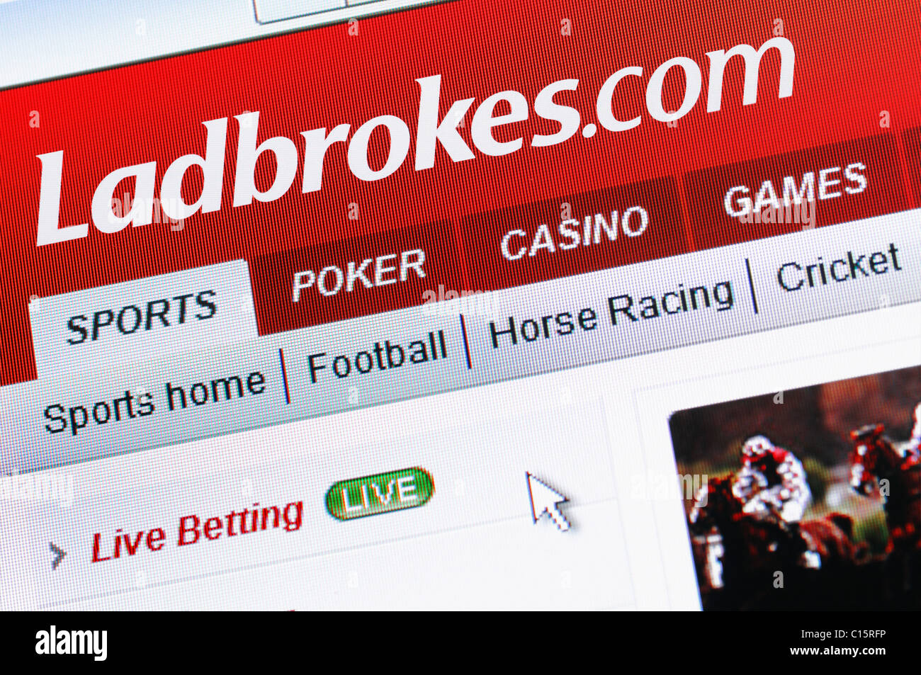 Ladbrokes Online Gambling and Bookmaker. Ladbrokes.com is the Internet Version of the Bookmaker. - Stock Image