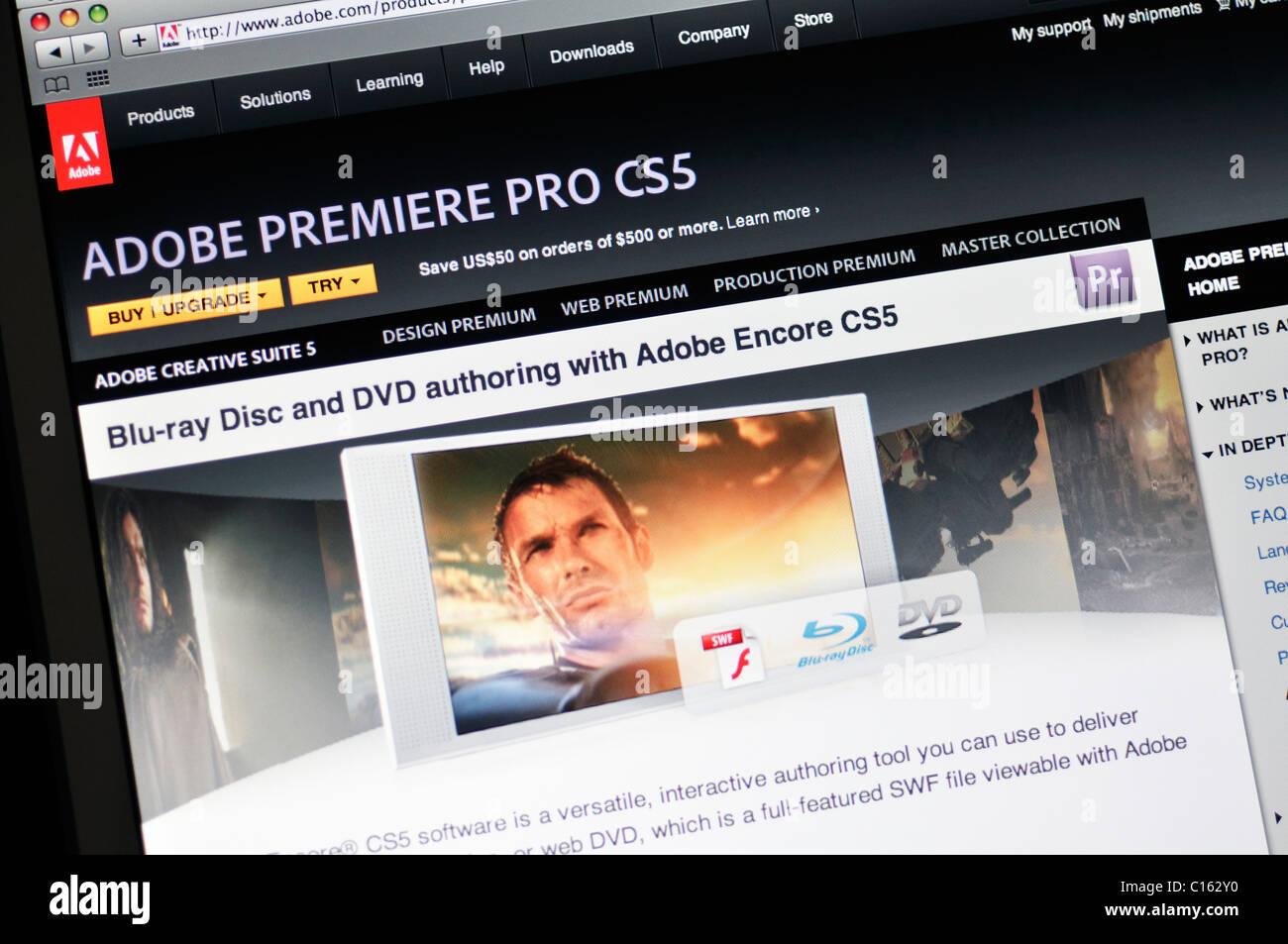 Adobe Premiere Pro CS5 website - Stock Image