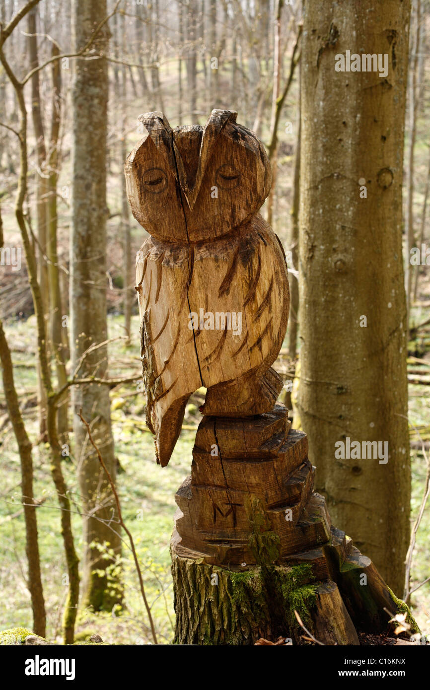 Carved owl wood stock photos