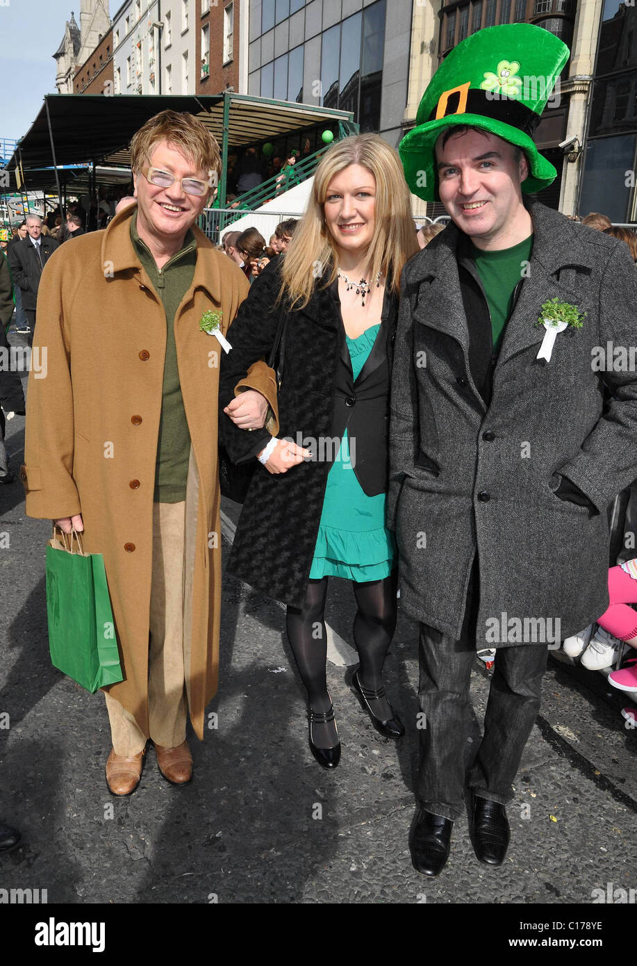 Alan Amsby, Francis Winston, Eugene Masterson The St. Patrick's Day parade takes place in Dublin Dublin, Ireland - Stock Image